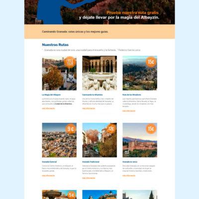 diseño de pagina web para caminanda granada empresa turistica de granada