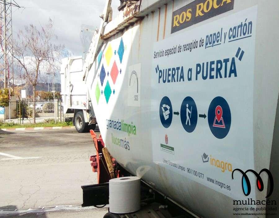 diseño de adhesivo para campaña reciclaje inagra Granada