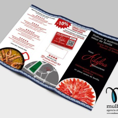 diseño de triptico exterior para restaurante por Mulhacen agencia de publicidad en granada